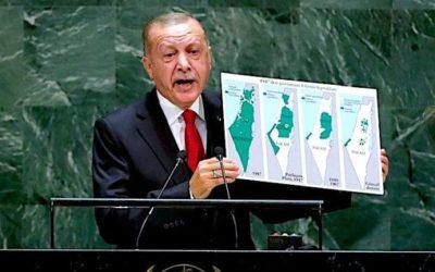 Erdogan vo svojej prezentácii VZ OSN o izraelskej expanzii.